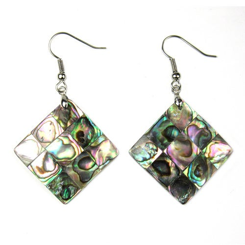 Abalone Diamond Shaped and Rhodium Plated Dangle Hook Earrings