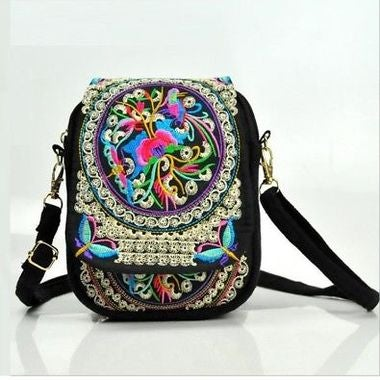 Chinese Vintage Embroidery Bag National Ethnic Embroidered Canvas Cover Shoulder