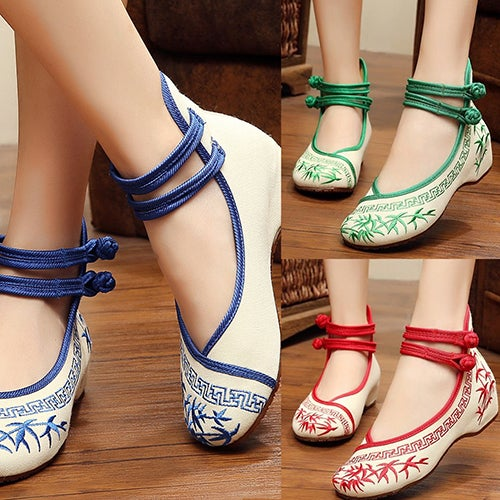 Women Ladies Fashion Embroidery Bamboo Ethnic Style Dichotomanthes Casual Shoes