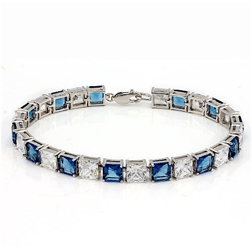 .925 Sterling Silver 29.90CTW Genuine Sapphire and White Topaz Tennis Bracelet . SSIL8239