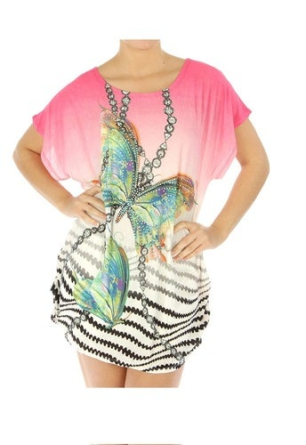 Butterfly Print Stud Embellished Top Your Choice of Color