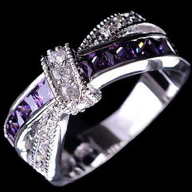 White Gold Plated Noble Purple Ring