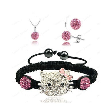 Necklace, Bracelet and Earrings Set!  Cute Hello Kitty Set - Many Colors to Choo