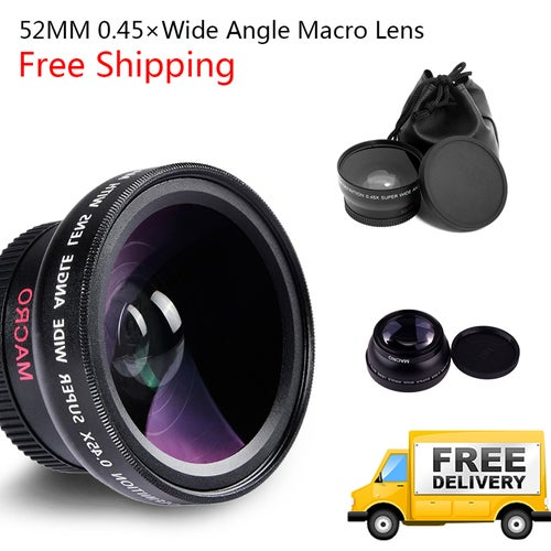 Free Shipping Great Gift for Christmas High Quality 52MM 0.45 x Wide Angle Macro Lens