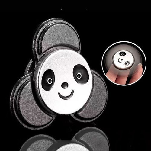 BLACK -Cute Panda Metal Hand Tri-Spinner Finger Toy Fidget Focus ADHD Autism new