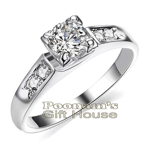 18K White Gold Plated Ring with Austrian Crystal