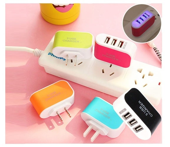 3 Port LED Wall Charger for Smartphones Universal Compatible - For iPhone Samsung LG