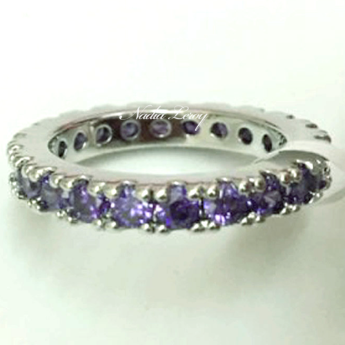 Purple Amethyst Pave Sterling Silver 925 Ring (Vrai Coquelicot)