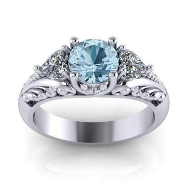 Mother's Day Platinum Sky Blue Crystal Zircon Ring