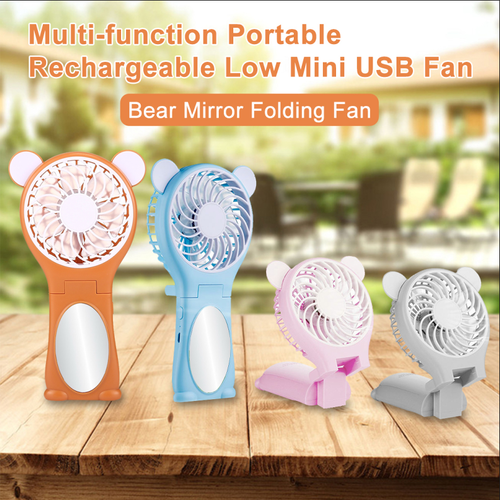 Bear Shaped Multi-function Portable Rechargeable Folding Mini USB Fan With Mirror