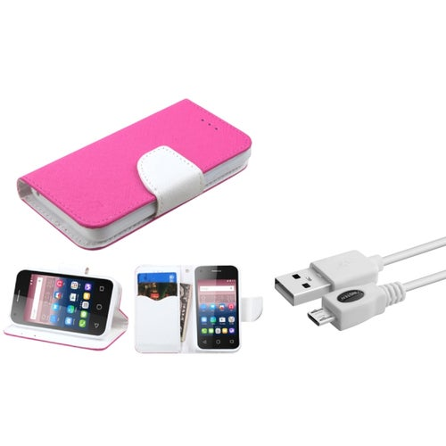 Insten Leather Card Case Stand For Alcatel One Touch Pixi 4 (3.5) - Hot Pink/White (+ Micro USB cable)