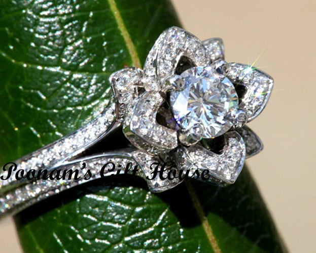 2 Rows 2.0 Ct Lotus Flower CZ EngagementRing
