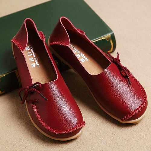 Womens Comfort Casual Walking Bowed Nurse Flat Shoes Ballet Loafers Boat Shoes