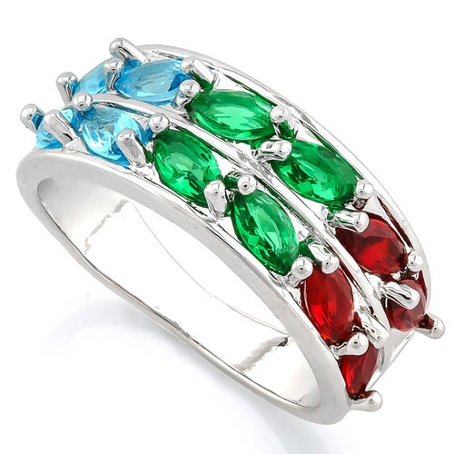 Beautifully Created Fine Multi-Color Gemstones Ring Sm8085