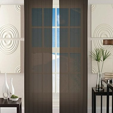 Sheer Window Curtains 40-inch width X 84-inch Length - Chocolate