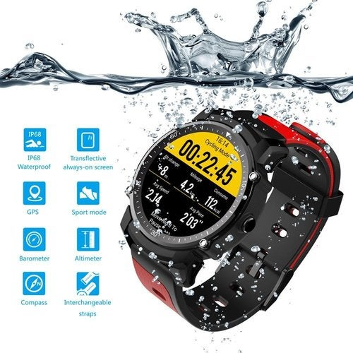 New Smart Watch IP68 Waterproof Heart Rate Pressure Monitoring a Variety of Sports Patterns GPS Information Reminder Professional Sports Watch Android5.0 and IOS8.0 (FS08)