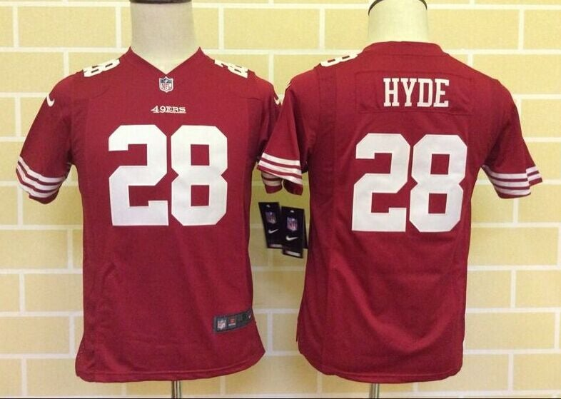 San Francisco 49ers #28 hyde white Youth Jersey