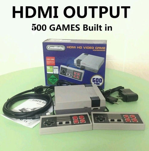 Mini Retro Family HDMI HD Classic NES Console TV Game 600 Built-in GamesHandheld + 2 Handle Controllers
