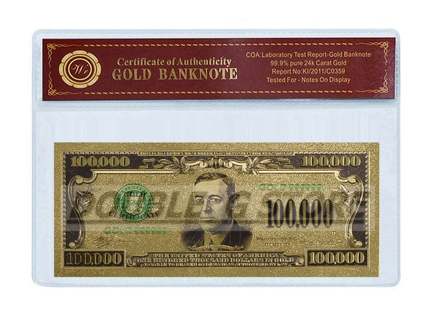 1928 24K GOLD CERTIFICATE $100,000 DOLLAR COLLECTORS EDITION WITH COA (CERTIFICATE OF AUTHENTICITY)
