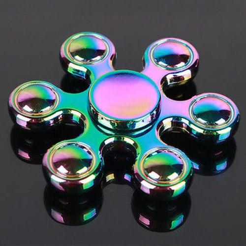 Fidget Hand Spinner Rainbow Six Gyro Finger Desk Torqbar Brass EDC Focus Toys
