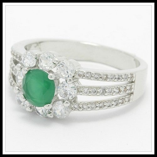 Beautifully Created Fine Emerald & White Sapphire Ring SM9113