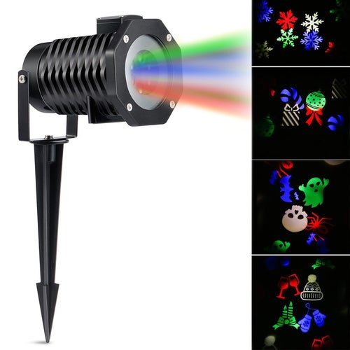 LED Projector Light RGB Lawn Light Landscape Light with 10 Gobo Slides for Xmas Birthday New Year Halloween Party Holiday AU/UK /US/EU PLUG FOR CHOOSING
