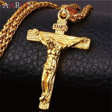 18K Gold Plated Jesus Piece Crucifix Pendant&Necklace Chain For Men Gift Vintage