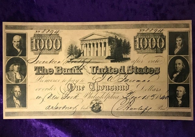 *Artifact* 1840 Serial #8894 The Bank Of The United States $1,000 Banknote Reproduction