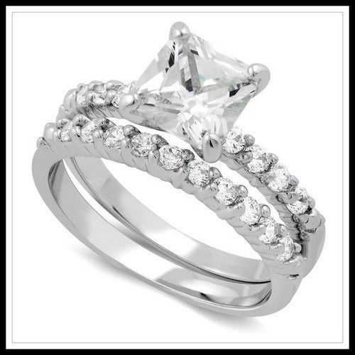 14k White Gold Filled, Beautifully Created Fine White Sapphire Set Of Two Rings sm817