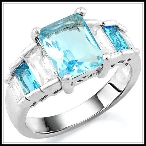 Grade Light Blue and White Cubic Zirconia CZ, 14k White Gold Filled Ring