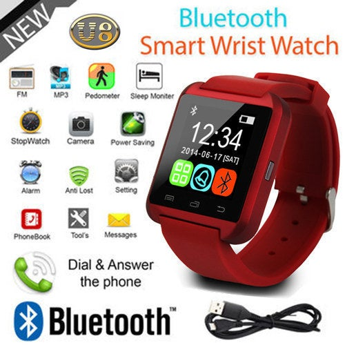 Bluetooth Touch Screen Smart Wrist Watch Phone Mate for Smartphone SIM/TF Apple iphone 4/4S/5/5C/5S/6/6s/6plus/6splus/7 Android Samsung S2/S3/S4/S5/S6/S7/Note 3/4/5/18