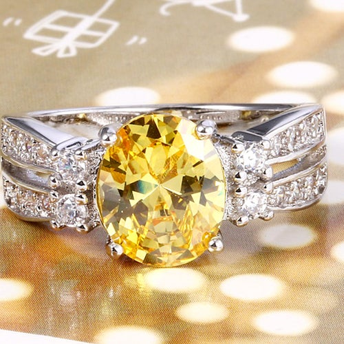 Amazing Citrine & White Sapphires  Sterling Silver 925 Ring
