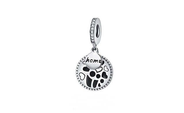 925 Sterling Silver Sweet Home Enamel Charms Paved Cubic Zirconia
