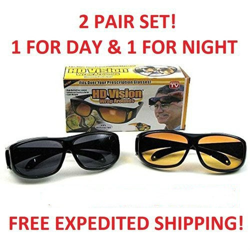 2 Pairs HD Night Vision Wraparound Sunglasses As Seen TV Fits over Glasses Black