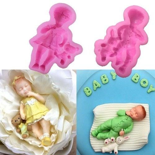 3d Boy Girl Barbie Doll Bear Silicone Cake Mold Baby Party Fondant Cake Decorating Tools Cupcake Chocolate Baking Moulds