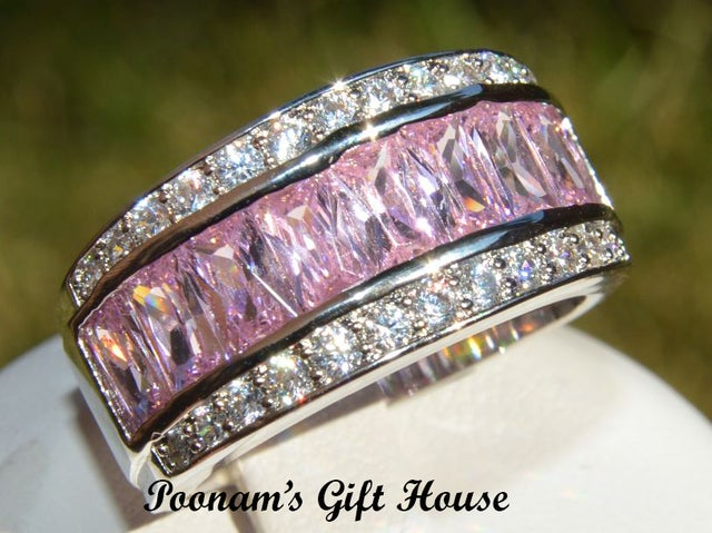 Gorgeous White Gold Plated Pink CZ Ring