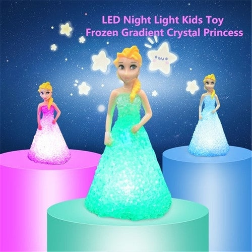 Beautiful Elsa/ Anna LED Colorful Lights gradient crystal Night Light Led Lamp with battery toy christmas