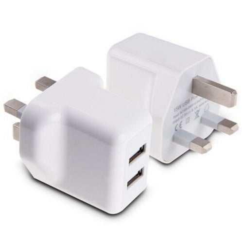 1 pcs 3 Pin Twin 2 Port USB Dual Plug Charger Mains Adapter