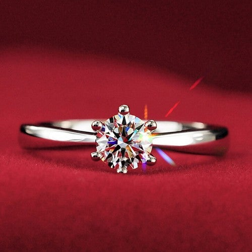 Fabulous New Solitaire Ring 18K White Gold EP