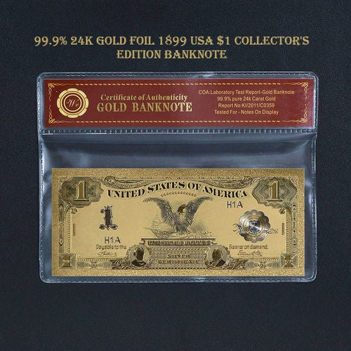 Limited 99.9% 24k Gold Foil Polymer Collectors 1899 US $1 with Certificate of Authenticity
