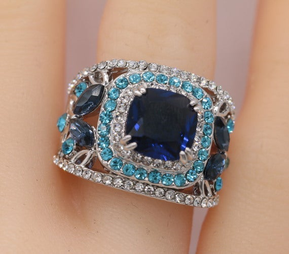 Luxury Multi-stone Blue CZ Women Statement Ring #948