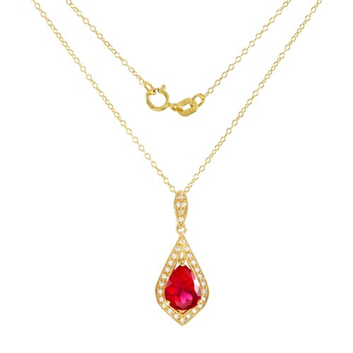 "Glamouresq .925 Sterling Silver 14k Yellow Gold Plated Created Ruby and White Sapphire Necklace 18"" Long"