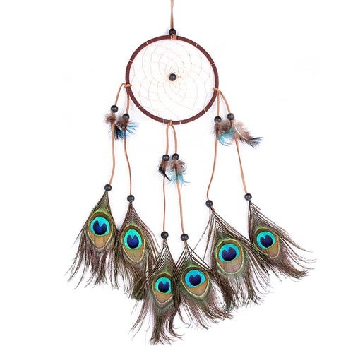 1 pcs Peacock Dreamcatcher Wind Chimes Indian Style Feather Pendant Dream Catcher Gift