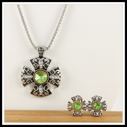 Designer Two-Tone, Beautifully Created Fine Emerald & White Sapphire Set of Necklace and Earrings sm7621