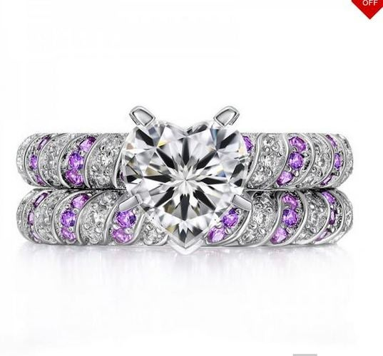 (#27) Charming Heart-shaped CZ Inlaid Engagement Ring Set