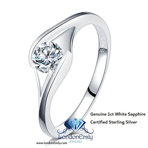 Genuine 1ct White Sapphire, Certified Sterling Silver
