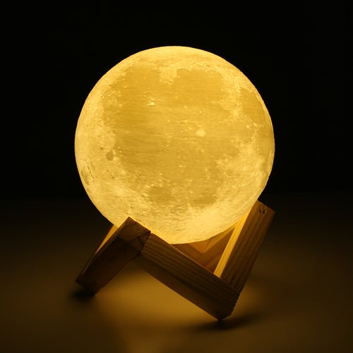 Creative 3D Print Moon Lamp with Touch-Sensing Switch 3D Lunar Lamp 2 Color Changeable Night Lights Home Decor with Wood Holder