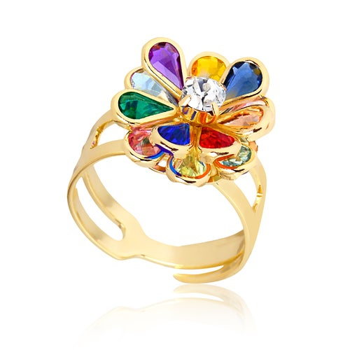 Yellow Gold Filled Multicolor Crystals Flower Rings