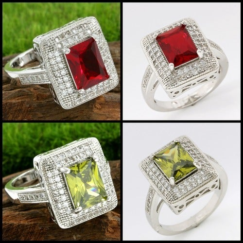 1.60ctw 14k White Gold Filled, Beautifully Created Fine Peridot /White Sapphire or Garnet/White Sapphire Ring (Please Choose One at Check Out) QCC