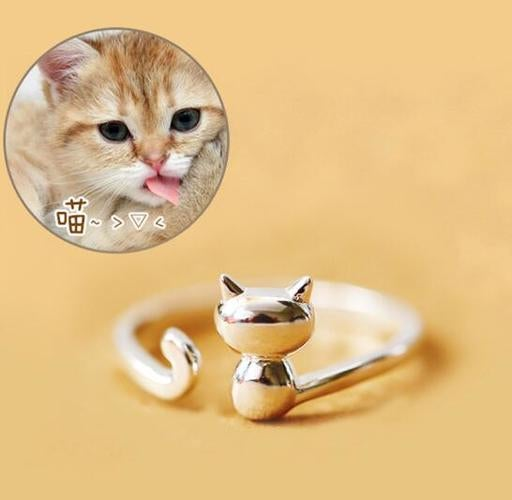White Gold Filled Cute Little Cat Ring Adjustable